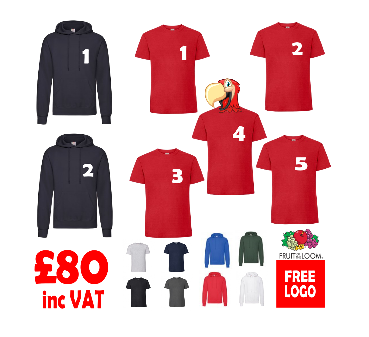9b8a22fa3 T-Shirt & Hoodie Bundle - 7 items personalised with your logo