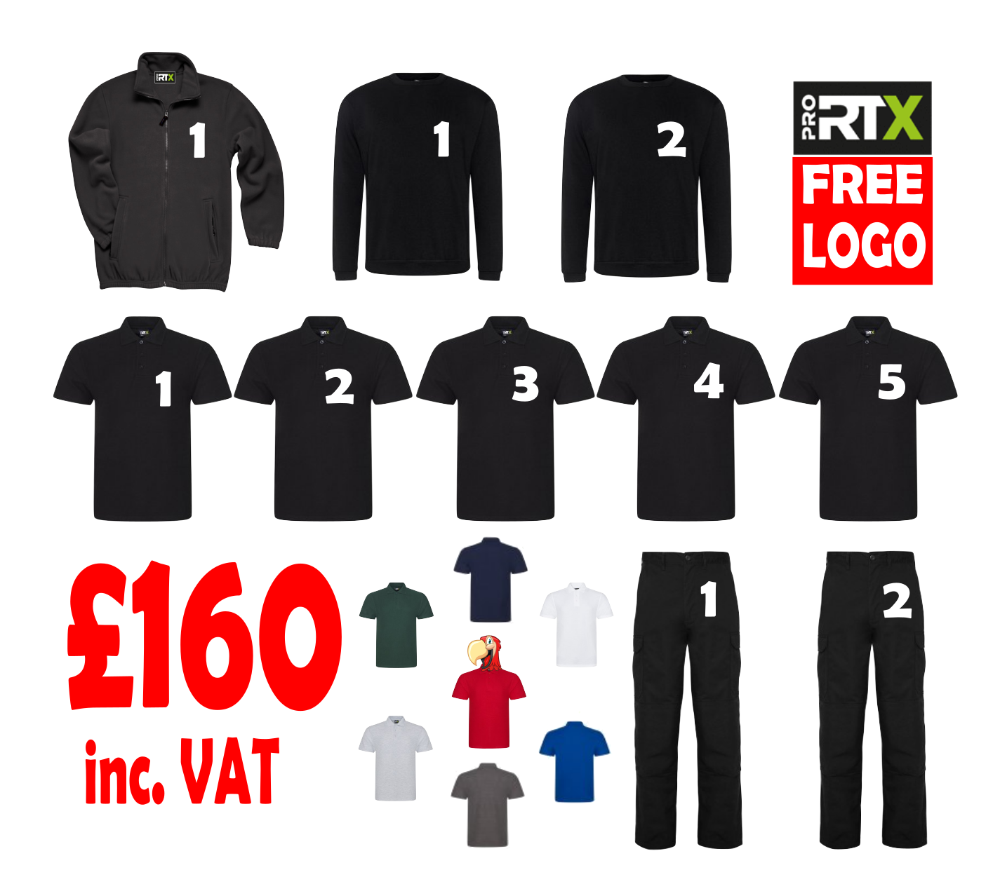 Personalized Bespoke Company Business Embroidered Workwear Uniform Pack